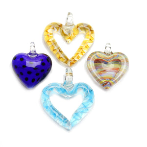 Lampwork Glass Heart Mix PendantsPendant by Halcraft Collection