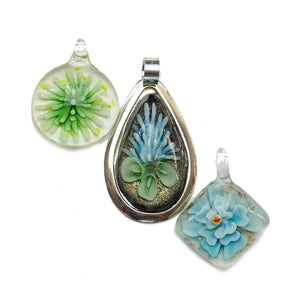 Lampwork Glass Flower Mix PendantsPendant by Halcraft Collection