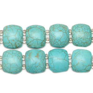 Turquoise Dyed Reconstituted Stone Slider 17x21mm Slider by Bead Gallery