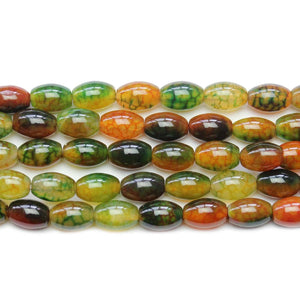 Green and Orange Dyed Crackle Agate Stone Tube 8x12mm Beads