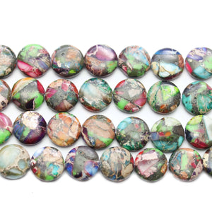Reconstituted Multi Dyed Stone Round Lentil 12mm Beads