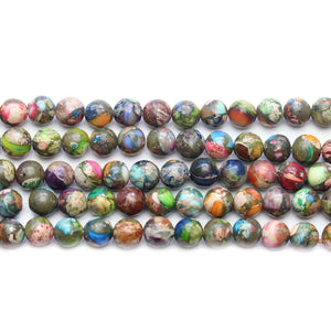 Reconstituted Multi Dyed Stone Round 6mm Beads