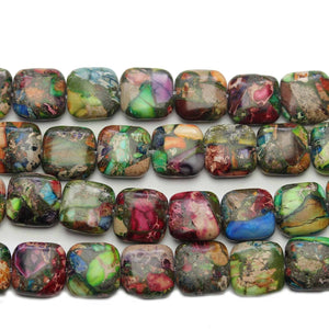Reconstituted Multi Dyed Stone Square 11mm BeadsBeads by Halcraft Collection