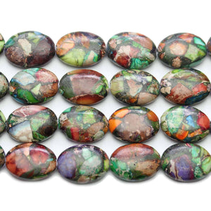 Reconstituted Multi Dyed Stone Oval 13x18mm Beads