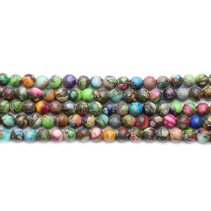 Reconstituted Multi Dyed Stone Round 4mm BeadsBeads by Halcraft Collection