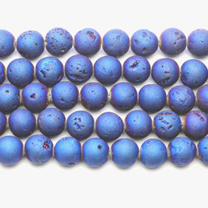Blue Iris Coated Druzy Agate Stone Round 12mm Beads
