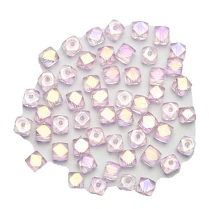 Super Bundle - Cuentas de cristal rosa con facetas de cubo de 4 mm (3 paquetes / 54 piezas) de Halcraft Collection