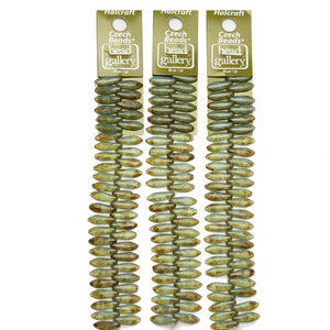 Super Bundle - Green with Tourmaline Coat Czech Dagger 5x16mm Beads(3Packs/146Pieces)Beads by Halcraft Collection