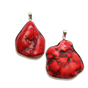 Super Bundle - Red Dyed Howlite Stone Nugget in Silver Frame 40mm Pendants(2Packs/2Pieces)Pendant by Halcraft Collection
