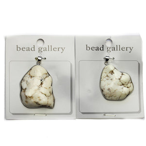 Super Bundle - White Howlite Stone Nugget in Silver Frame 40mm Pendants(2Packs/2Pieces)Pendant by Halcraft Collection