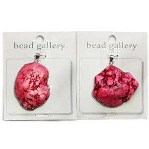 Super Bundle - Pink Dyed Howlite Stone Nugget in Silver Frame 40mm Pendants(2Packs/2Pieces)Pendant by Halcraft Collection