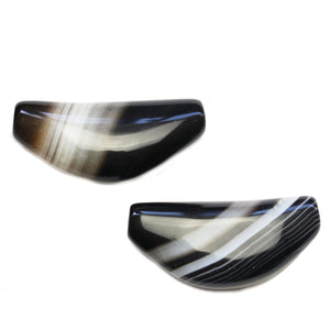 Super Bundle - Black Dyed Agate Center 25x54mm Pendants(2Packs/2Pieces)Pendant by Halcraft Collection