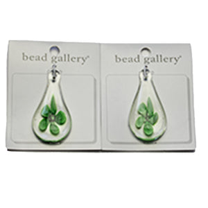 Super Bundle - Green Flower Glass Teardrop 30x55mm Pendants(2Packs/2Pieces)Pendant by Halcraft Collection