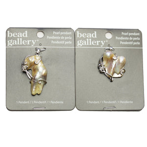 Super Bundle - Real White Pearl Nugget Wire Wrapped 30mm Pendants(2Packs/2Pieces)Pendant by Halcraft Collection
