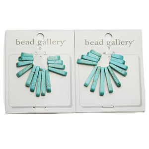 Super Bundle - Turquoise Dyed Howlite Stone Slices 12-30mm Pendants(2Packs/2Pieces)Pendant by Halcraft Collection