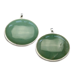 Super Bundle - Green Aventurine Stone In Metal Frame 30x40mm Pendants(2Packs/2Pieces)Pendant by Halcraft Collection