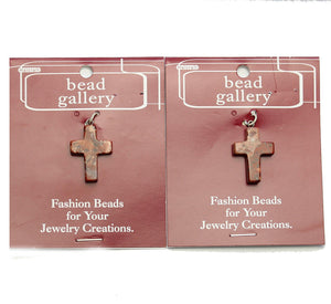 Super Bundle - Brecciated Jasper Stone Cross 19x26mm Pendants(2Packs/2Pieces)Pendant by Halcraft Collection