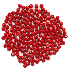 Super Bundle - Red Glass Faceted Rondell 4x6mm Beads(3Packs/150Pieces)Beads by Halcraft Collection