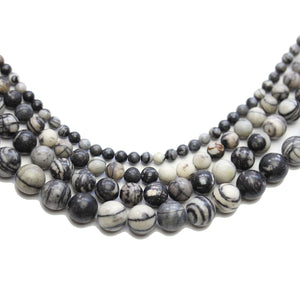 Multi-pack - Network Stone Round Beads (sizes 4mm, 6mm, 8mm, 10mm)Beads by Halcraft Collection