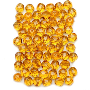 Topaz Czech Glass Fire Polished Faceted Round 6mm Beads
