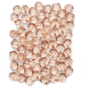 Pink Czech Glass Fire Polished Faceted Round 6mm Beads