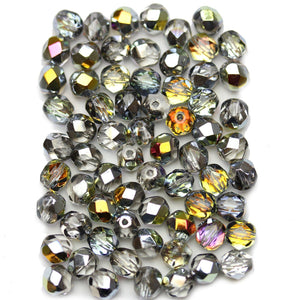 Crystal with Yellow Silver Iris Half Coat Czech Glass Fire Polished Faceted Round 6mm BeadsBeads by Halcraft Collection