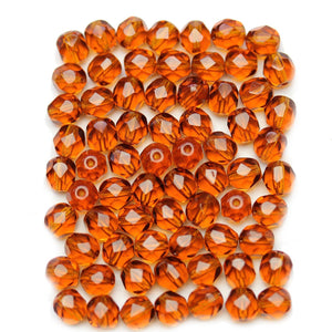 Dark Topaz Czech Glass Fire Polished Faceted Round 6mm Beads