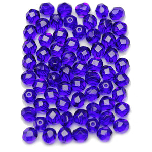 Dark Sapphire Czech Glass Fire Polished Faceted Round 6mm Beads