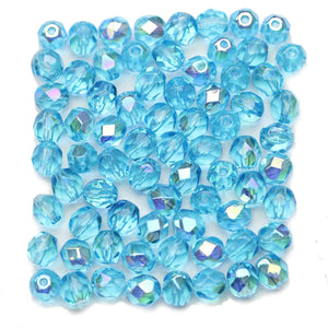 Light Aqua AB Czech Glass Fire Polished Faceted Round 6mm Beads