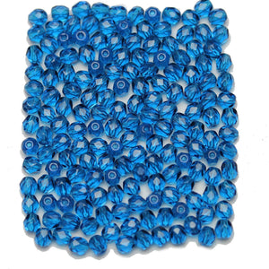 Dark Aqua Czech Glass Fire Polished Faceted Round 4mm Beads
