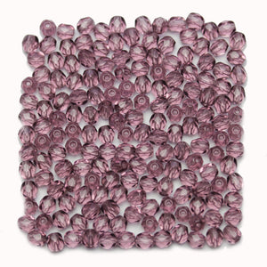 Light Amethyst Czech Glass Fire Polished Faceted Round 4mm Beads