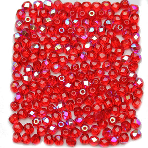 Light Red AB Czech Glass Fire Polished Faceted Round 4mm Beads