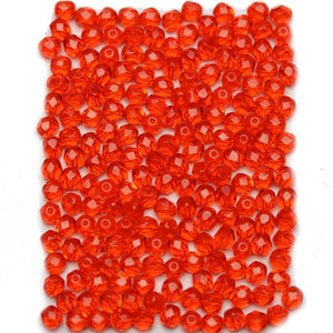 Orange Czech Glass Fire Polished Faceted Round 4mm BeadsBeads by Halcraft Collection
