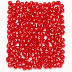Red Czech Glass Fire Polished Faceted Round 4mm BeadsBeads by Halcraft Collection