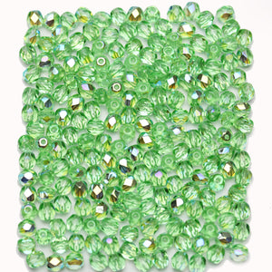 Light Peridot AB Czech Glass Fire Polished Faceted Round 4mm Beads