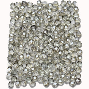 Light Smokey Grey Luster Czech Glass Fire Polished Faceted Round 4mm Beads