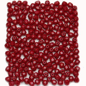Red Opaque Czech Glass Fire Polished Faceted Round 4mm BeadsBeads by Halcraft Collection