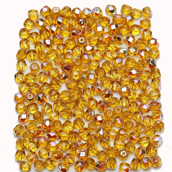 Topaz AB Czech Glass Fire Polished Faceted Round 4mm Beads