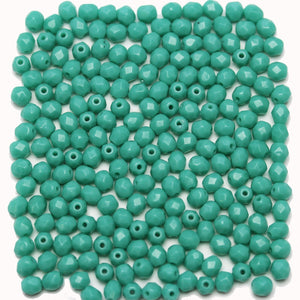 Turquoise Opaque Czech Glass Fire Polished Faceted Round 4mm Beads