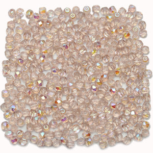 Light Pink AB Czech Glass Fire Polished Faceted Round 3mm BeadsBeads by Halcraft Collection