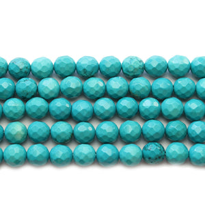Turquoise Dyed Howlite Faceted Round 7.7mm Beads