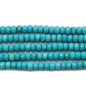 Turquoise Dyed Howlite Faceted Rondell 5x7.7mm Beads