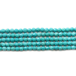Turquoise Dyed Howlite Faceted Round 4mm Beads