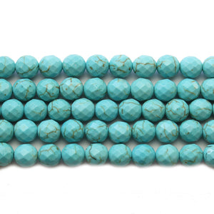 Turquoise Dyed Reconstituted Stone Faceted Round 7.5mm Beads
