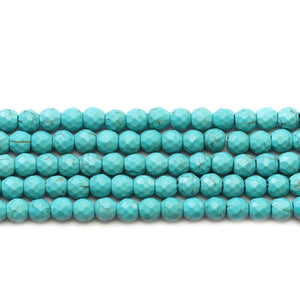 Turquoise Dyed Reconstituted Stone Faceted Round 6mm Beads
