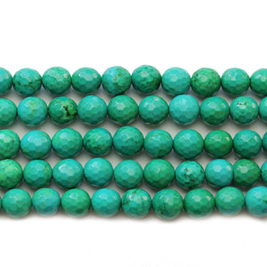 Greenish Turquoise Dyed Howlite Faceted Round 7.5mm Beads
