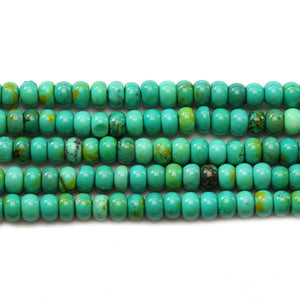 Greenish Turquoise Dyed Howlite Rondel 4x6mm Beads