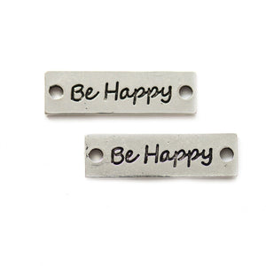 "Silver plated Rectangle Connector ""Be Happy"" 10x33mmConnector by Halcraft Collection"