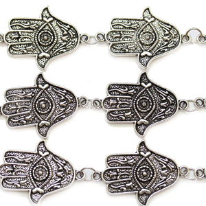 Silver Plated Metal Hamsa Hand Connector 25x35mmConnector by Bead Gallery
