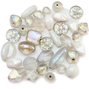 Indian White & Crystal Glass Bead Mix 6-22mmBeads by Halcraft Collection